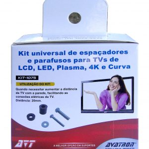 KIT UNIVERSAL DE PARAFUSOS E ESPAÇADORES PARA TV – </br> REF: KIT-1075